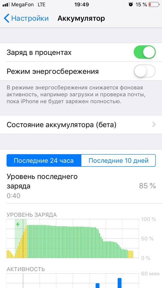 Пункт меню Аккумулятор деактивированный режим