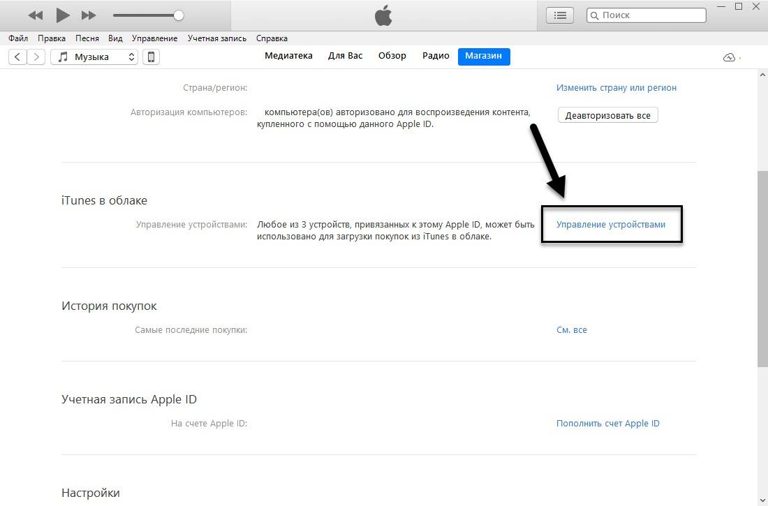 Управление устройствами в iTunes с ПК