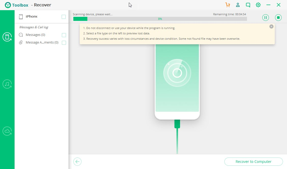 iSkysoft Toolbox сканирование файлов для восстановления