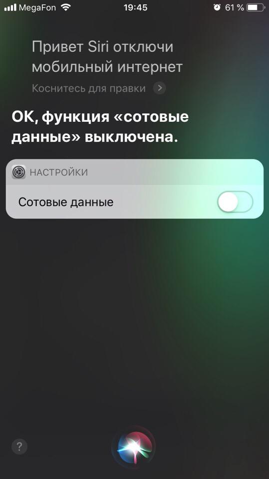 Отключение мобильного интернета через Siri