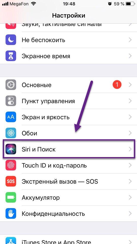 Пункт меню Siri и Поиск