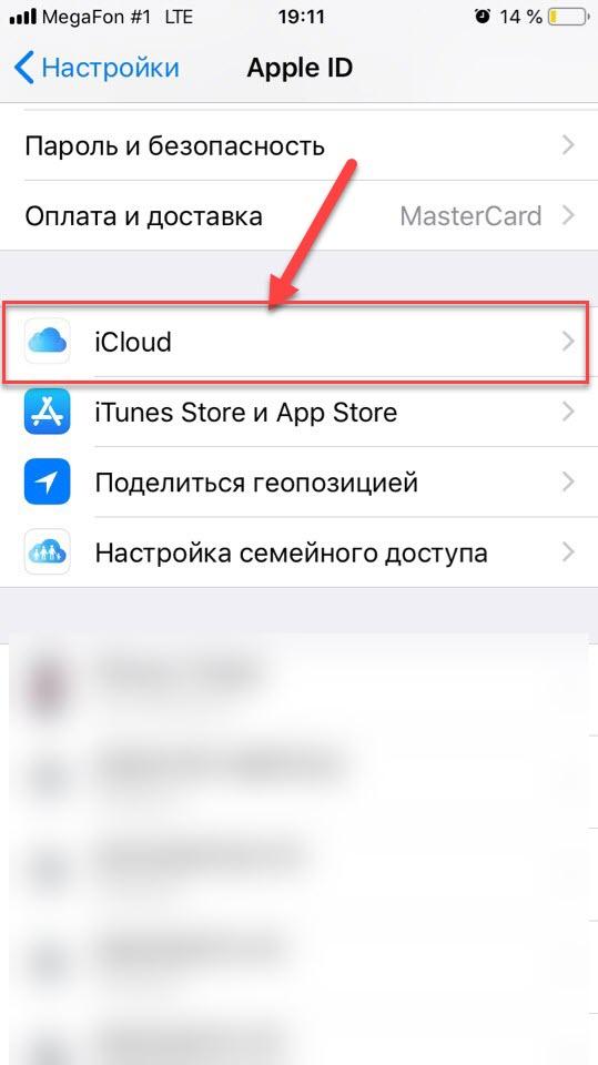Пункт меню iCloud