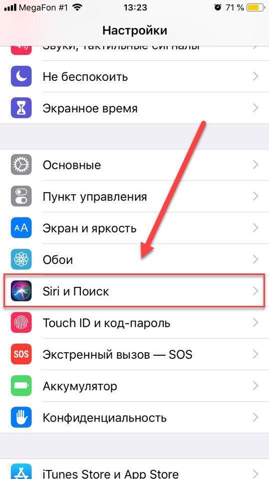 Пункт Siri и Поиск