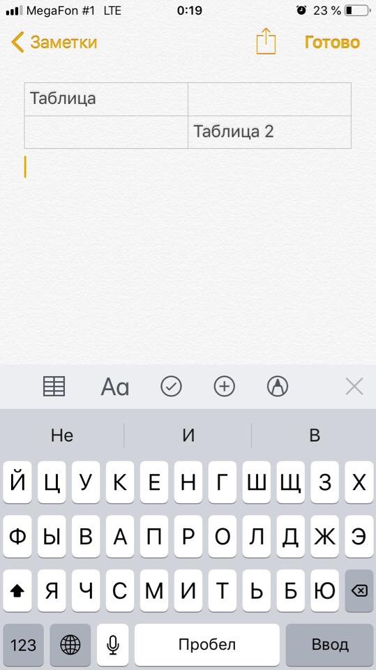Таблицы в заметках айфона