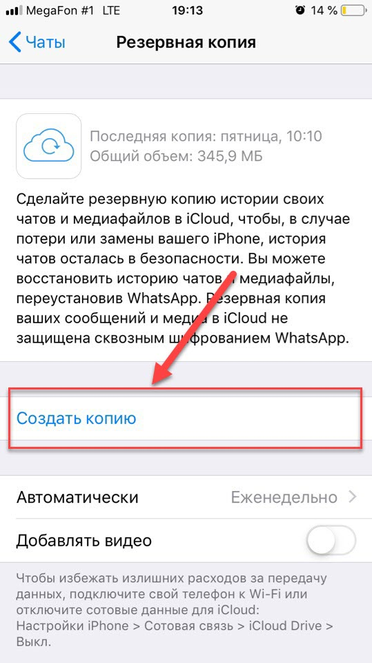 WhatsApp просмотр копий и создание копии