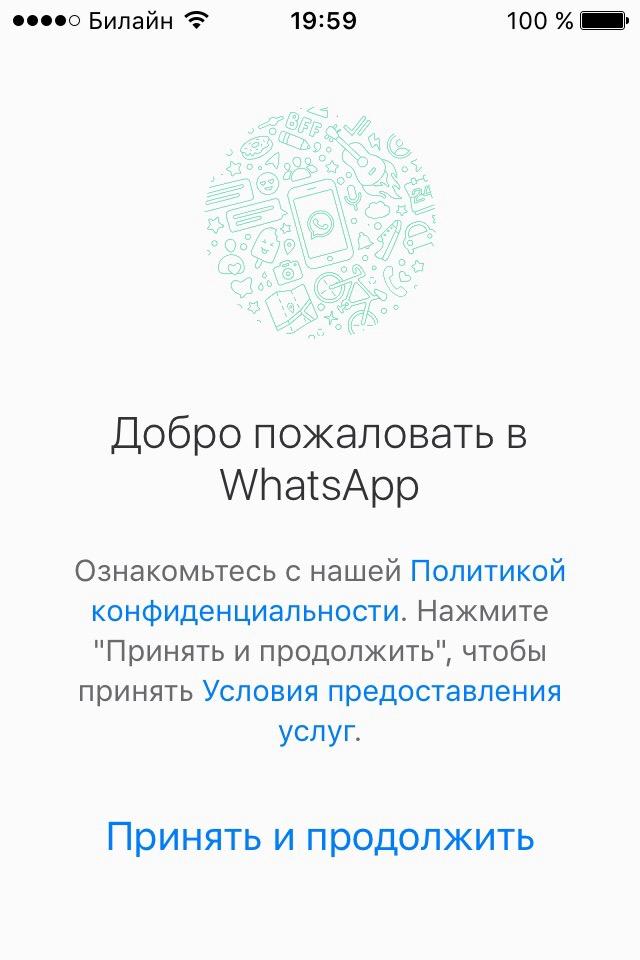 WhatsApp стартовый экран