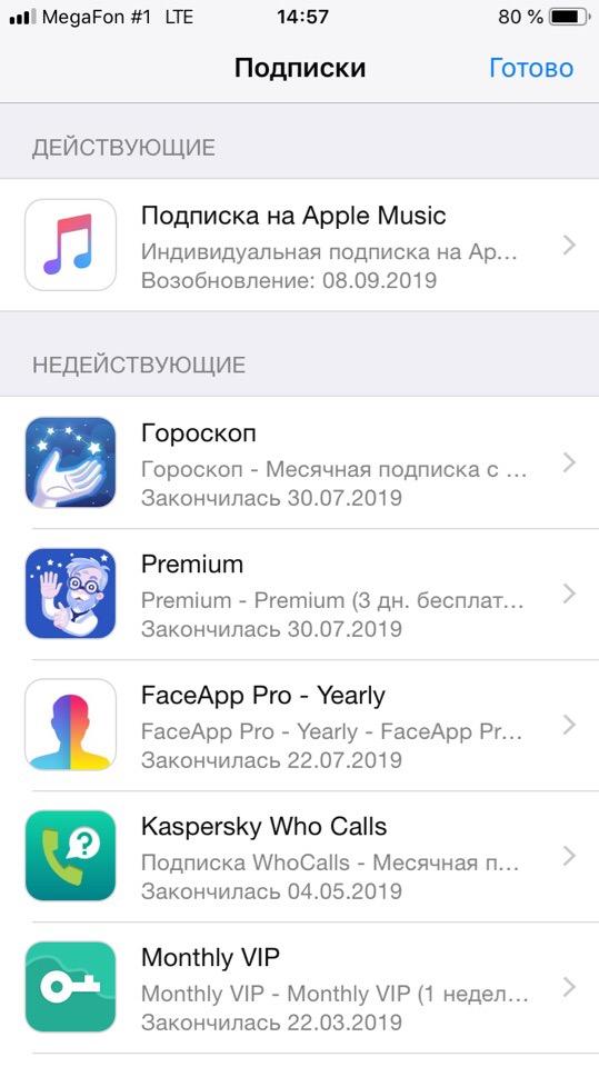 Действующие подписки Apple Store