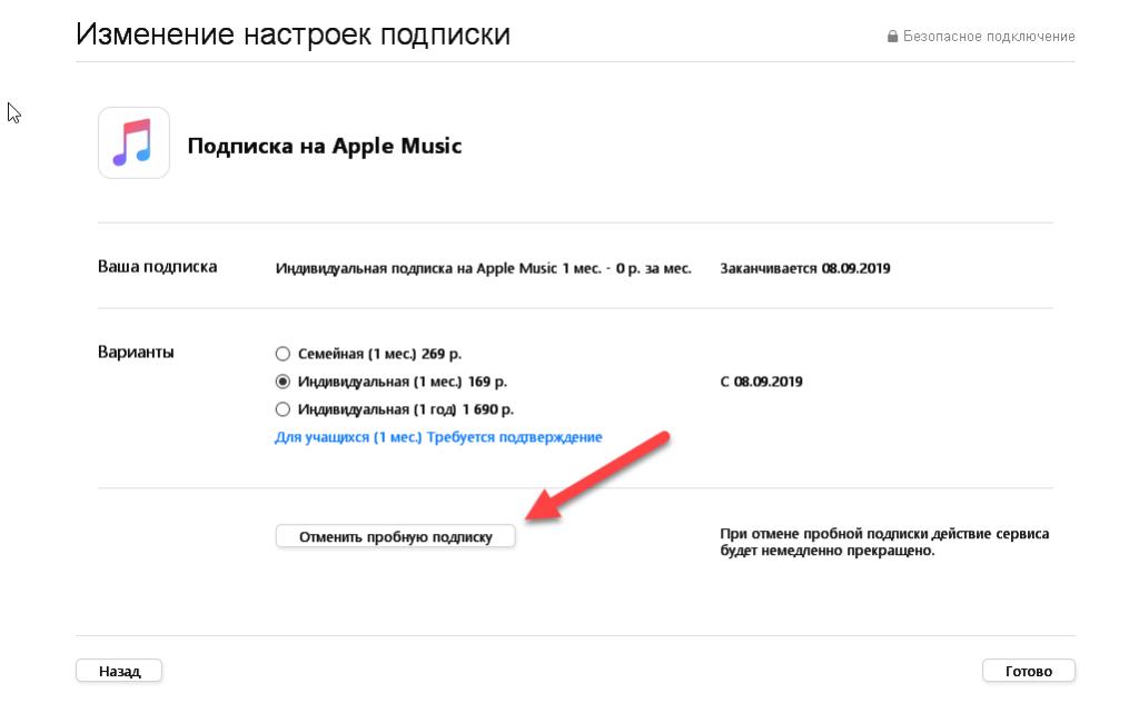 Отмена подписки в iTunes