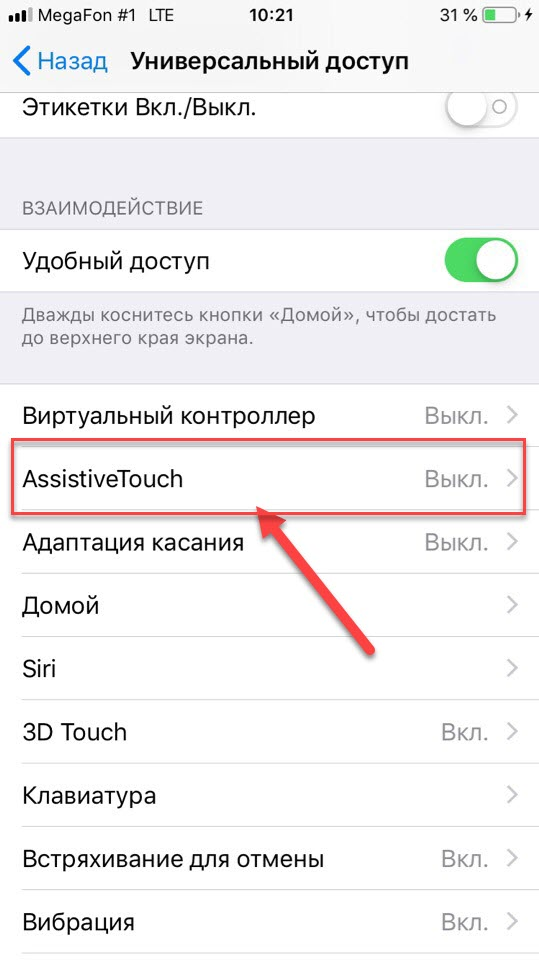 Пункт меню AssistiveTouch