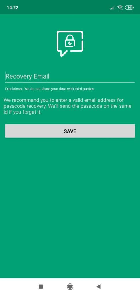 Locker for Whats Chat App почта для восстановления
