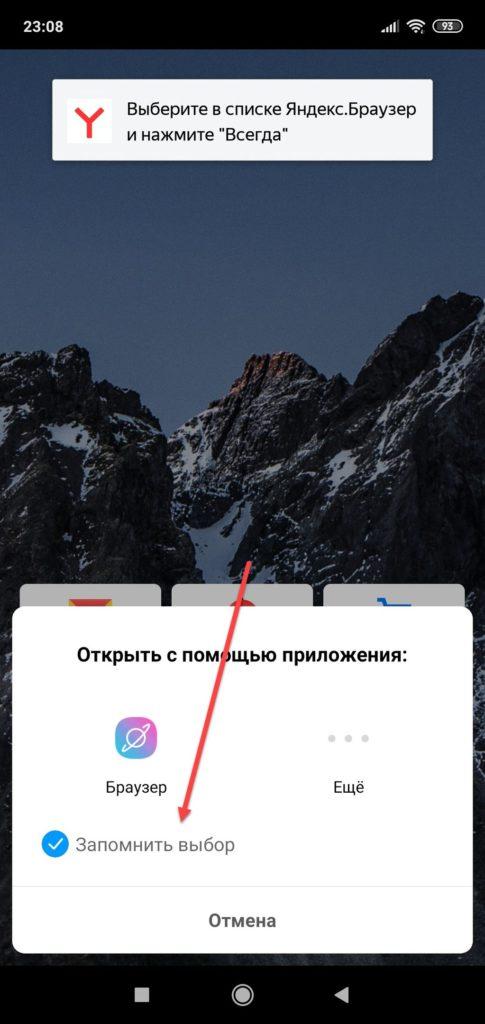 Яндекс Браузер подтверждение выбора