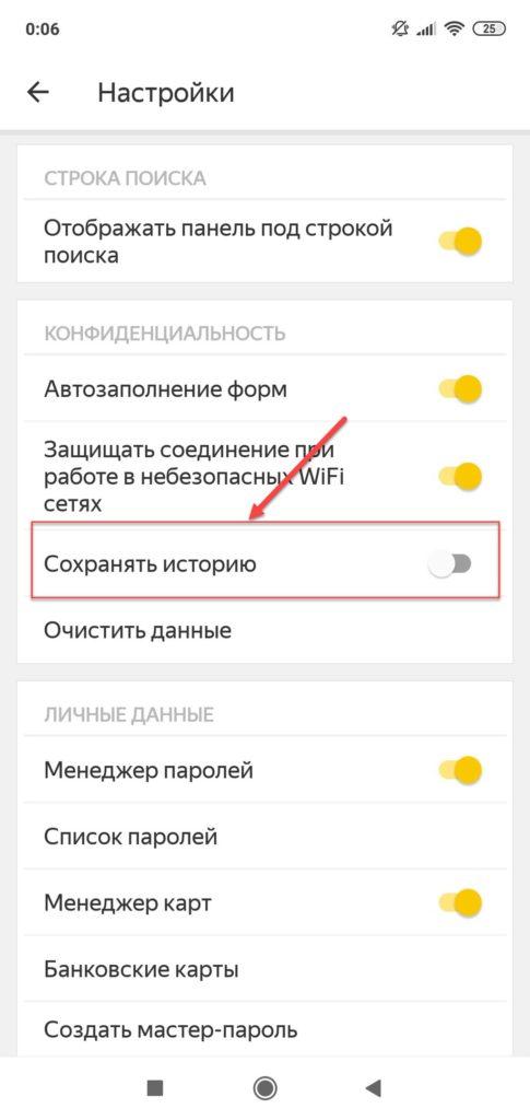 Отключение записи истории в Яндекс браузере
