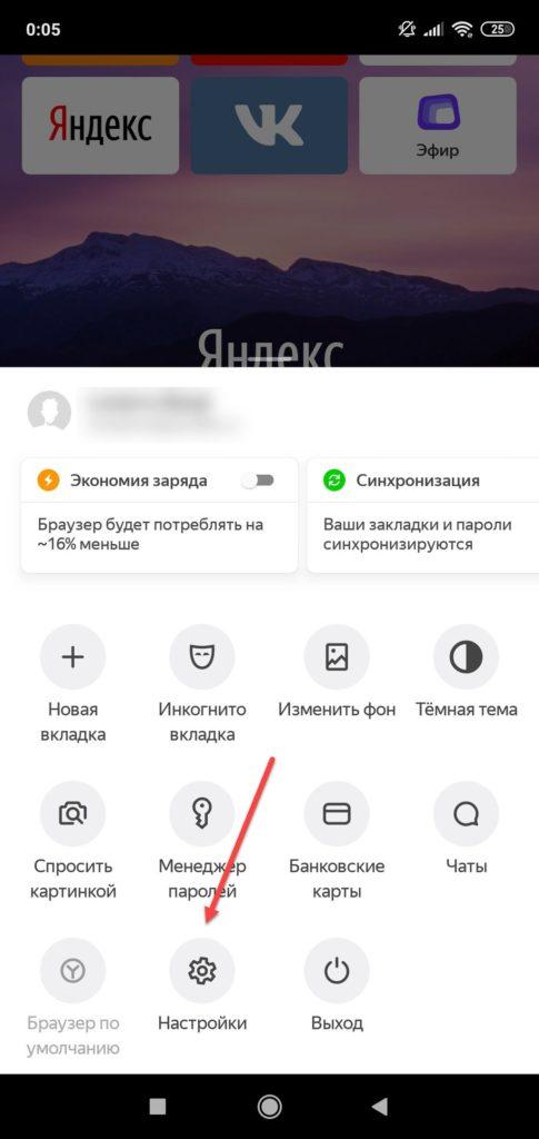 Пункт меню Настройки в Яндекс браузере