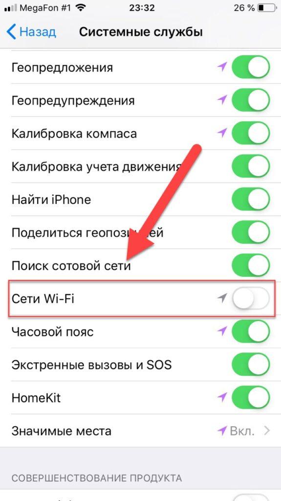 Отключение сети Wi-Fi