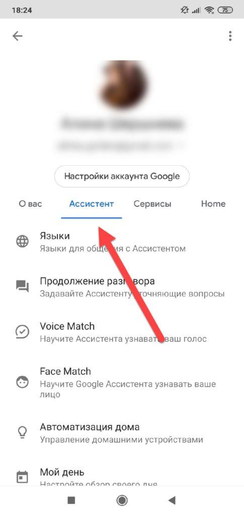 Пункт меню Ассистент в Google Ассистент