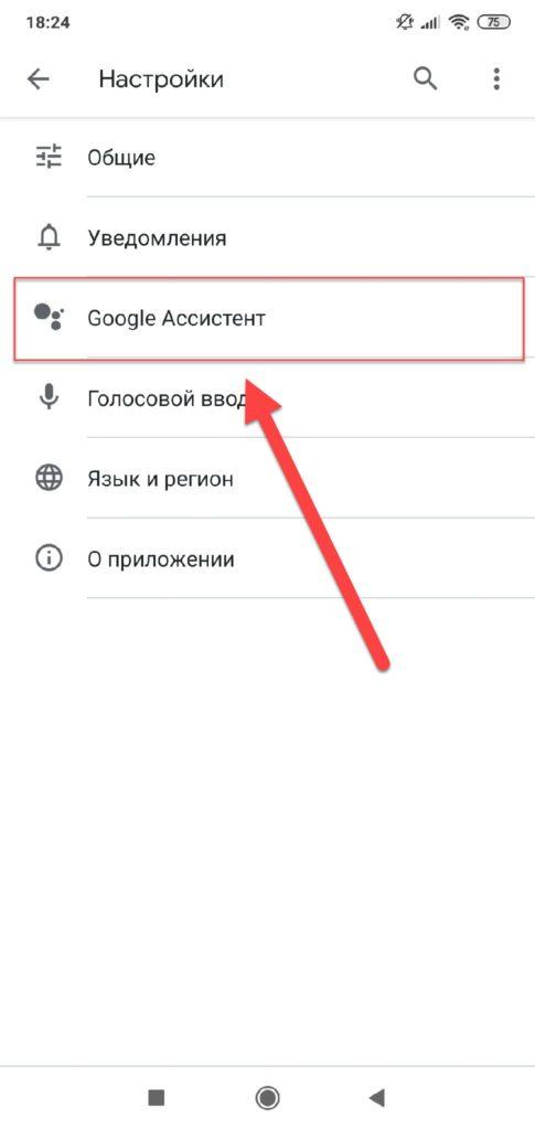 Пункт меню Google Ассистент