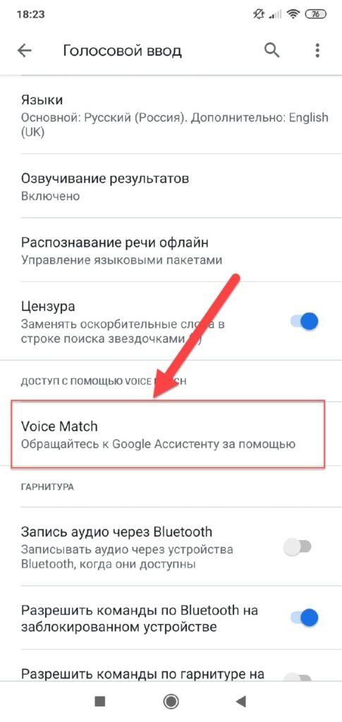 Пункт меню Voice Match в Google