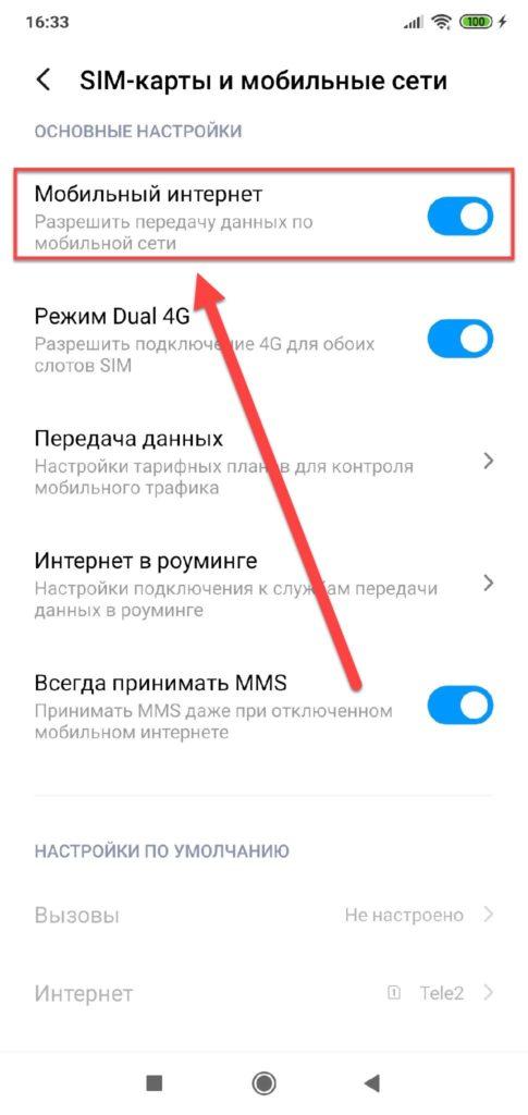 Пункт меню Мобильный интернет активен