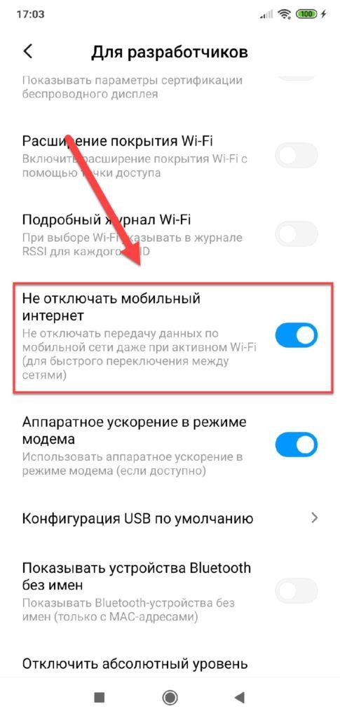 Пункт меню Не отключать мобильный интернет