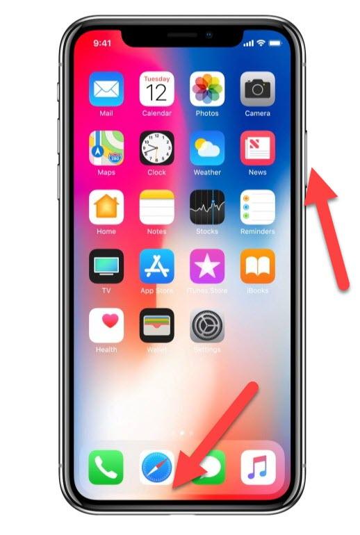 iPhone X Home и Power
