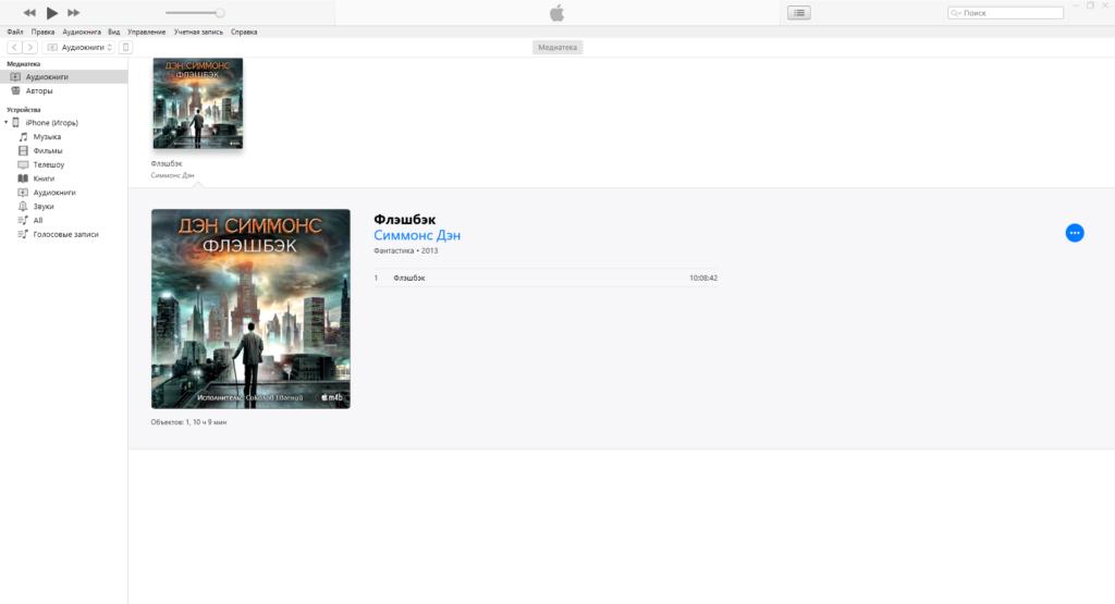 Аудиокнига в медиадеке iTunes