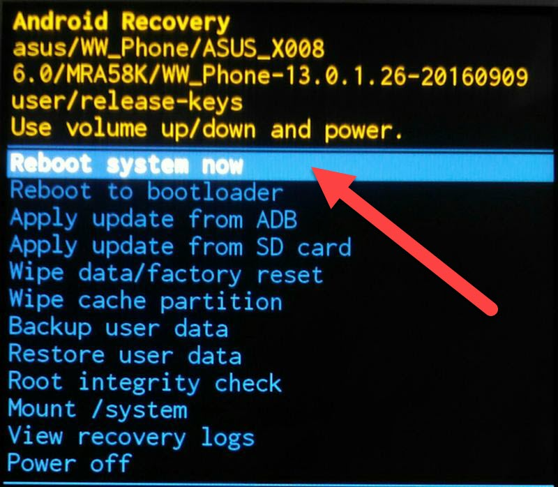 Recovery reboot now