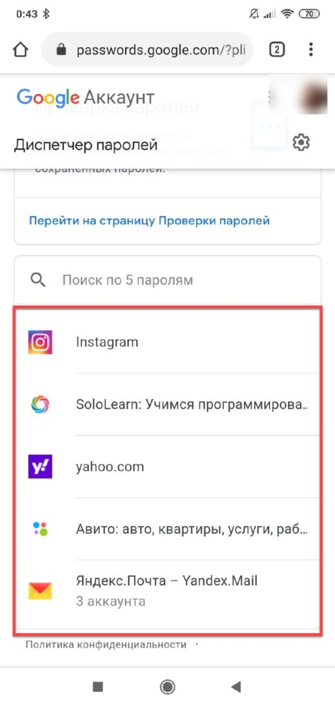 Диспетчер паролей Passwords Google