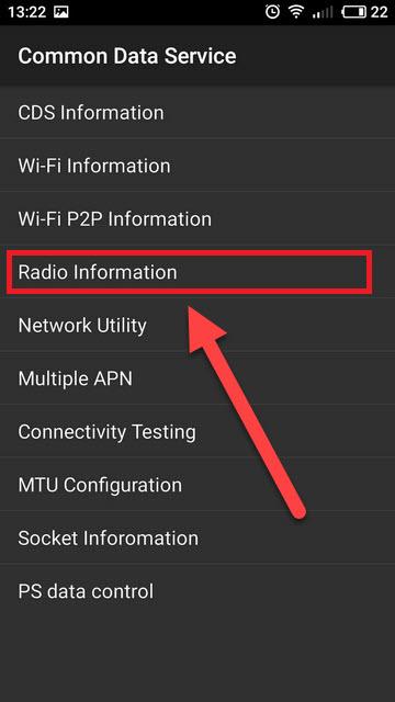 Инженерное меню Radio Information