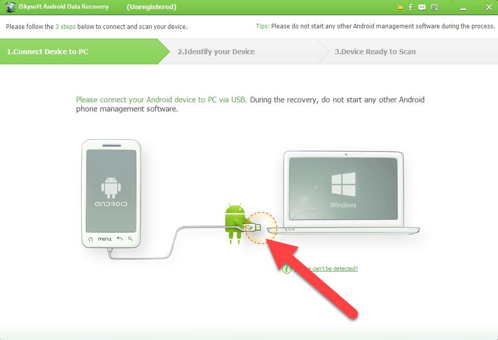 Android Data Recovery подключаем устройство