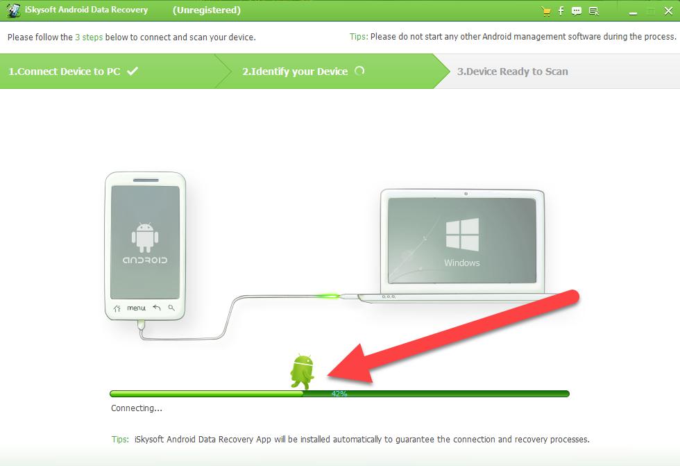 Android Data Recovery соединение с телефоном