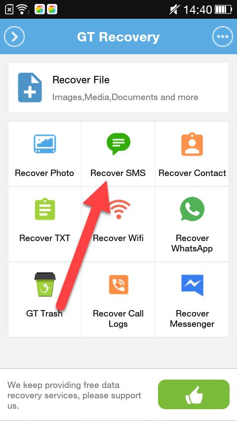 GT Recovery выбор типа файлов