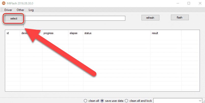 MiFlash нажимаем Select