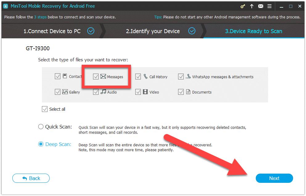 MiniTool Mobile Recovery выбор восстановления файлов