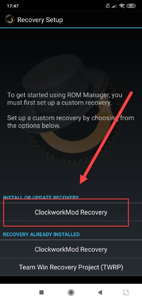 Rom Manager Recovery Setup