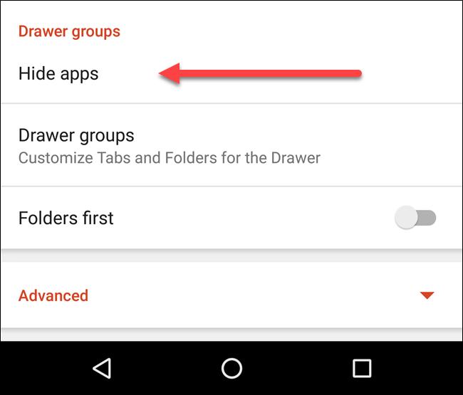 Nova Launcher пункт Hide Apps