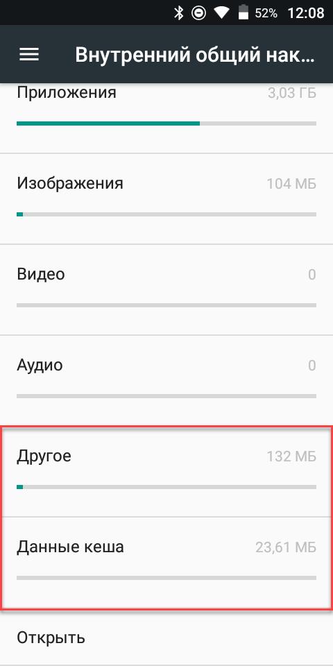 Данные на смартфоне Андроид