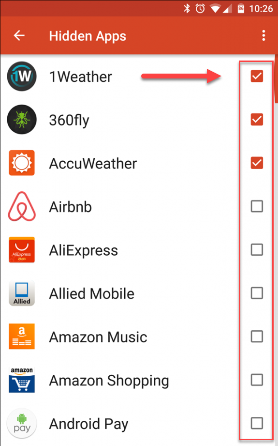 Nova Launcher выбираем приложения