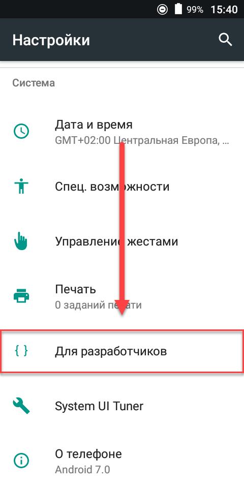 Пункт меню Для разработчиков Андроид