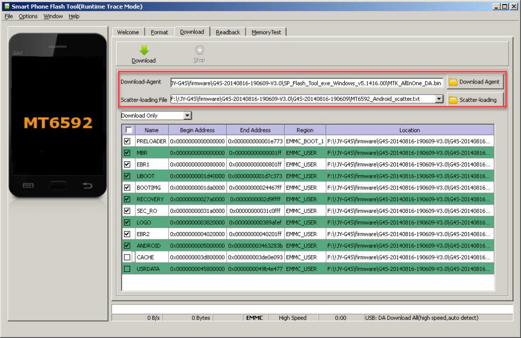 Flash Tool указываем файл прошивки Андроид