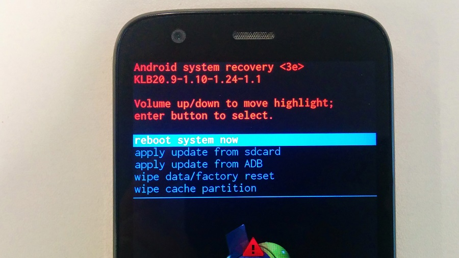 Android recovery mode reboot system now