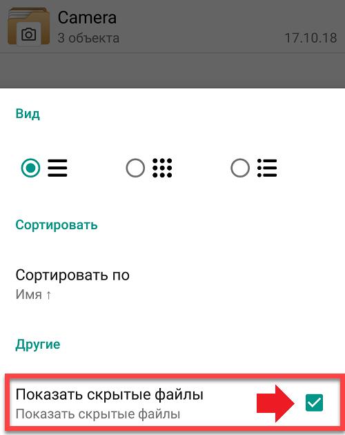 Показать скрытые файлы и папки в файловом менеджере Андроид