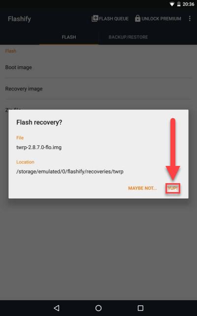 Flashify Android - Подтверждение