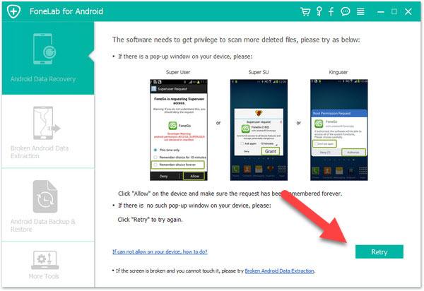 FoneLab Android Data Recovery Предоставление прав