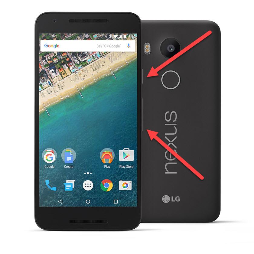Google Nexus питание и громкость вниз