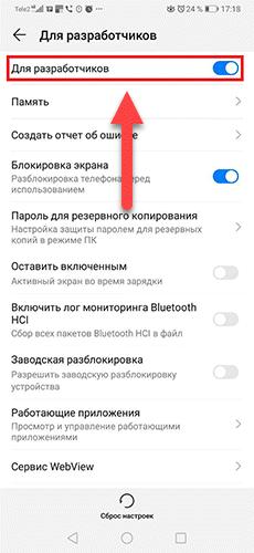 Активированный режим Для разработчиков Андроид
