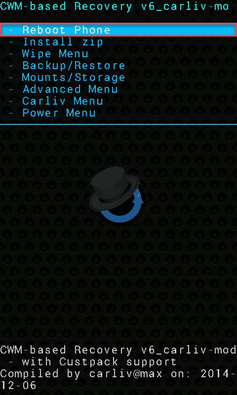 CWM Reboot phone
