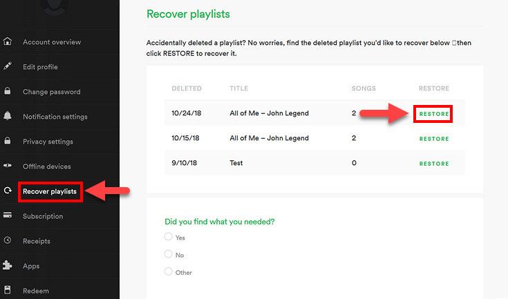 Spotify восстановление плей-листа