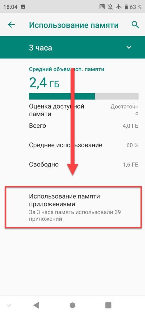 Использование памяти на Андроиде