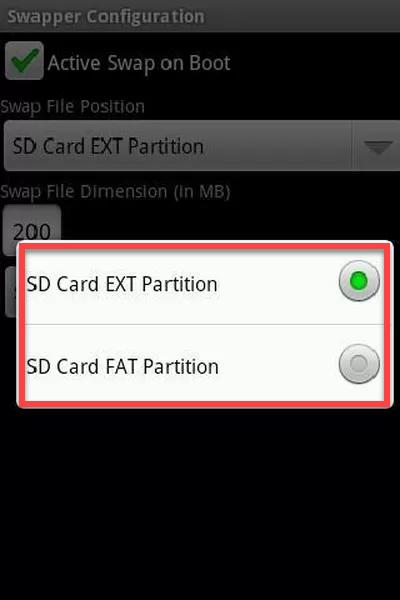 Приложение Swapper for ROOT выбор файловой системы