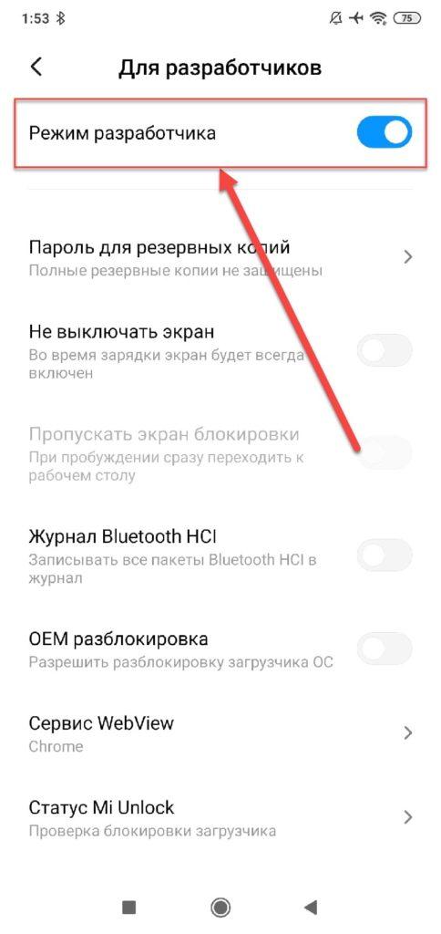 Xiaomi режим Для разработчика